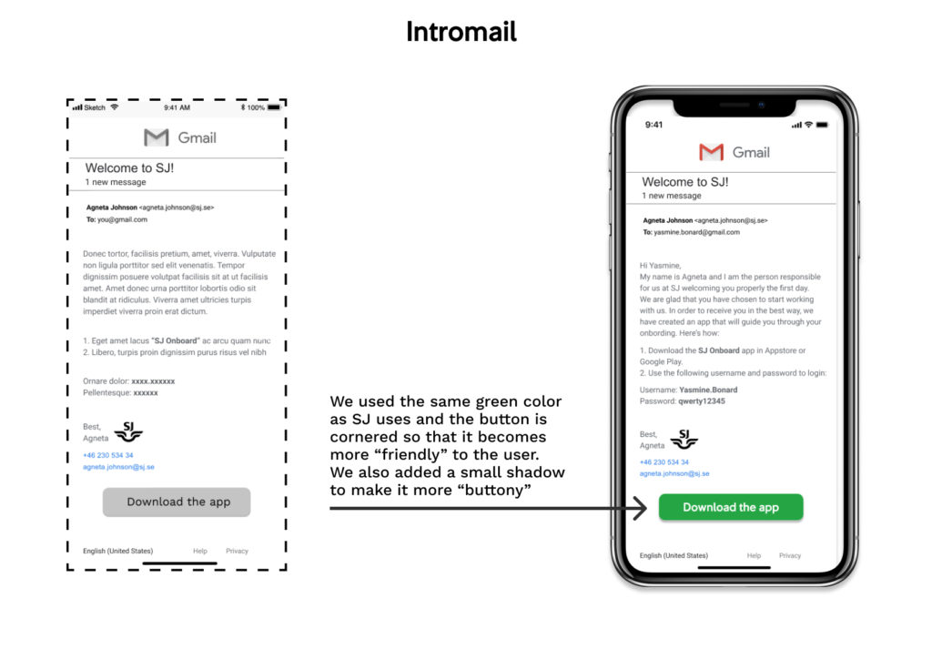 wireframe and mockup of the app: Intromail