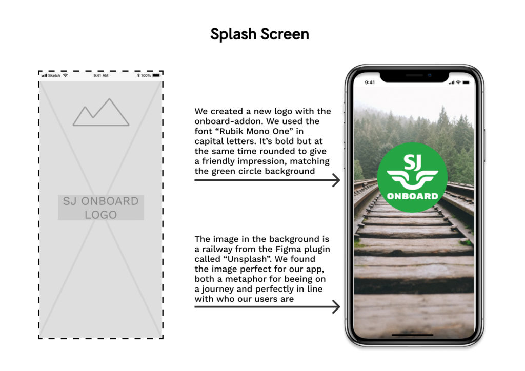 wireframe and mockup of the app: Splash Screen