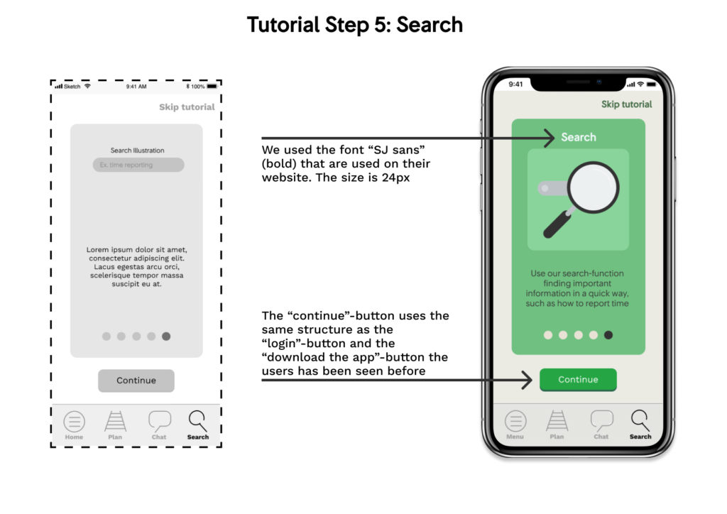 wireframe and mockup of the app: tutorial step5 search