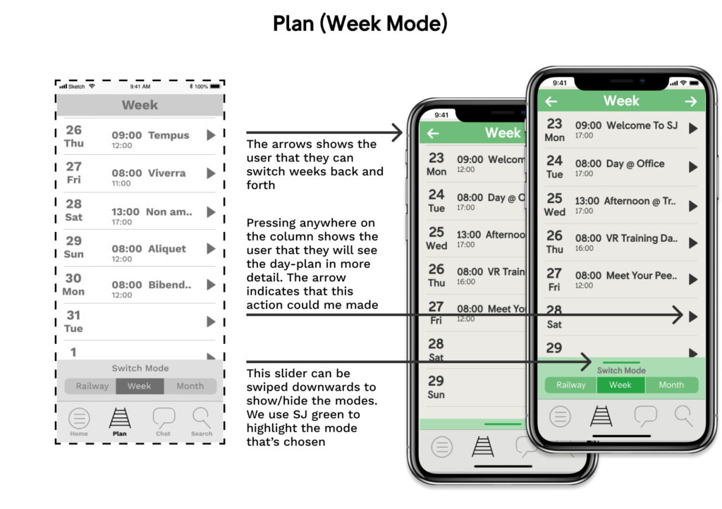 wireframe and mockup of the app: plan(week mode)
