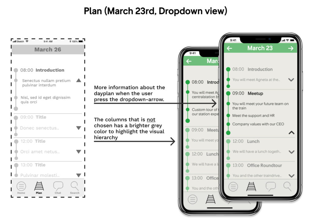 wireframe and mockup of the app: Plan(March 23rd, dropdown view)